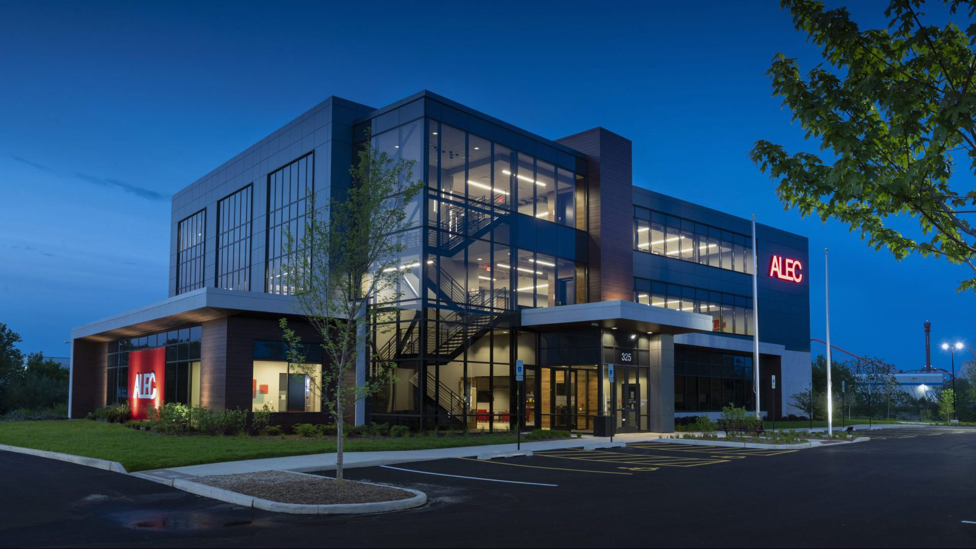 ALEC Headquarters Exterior at night