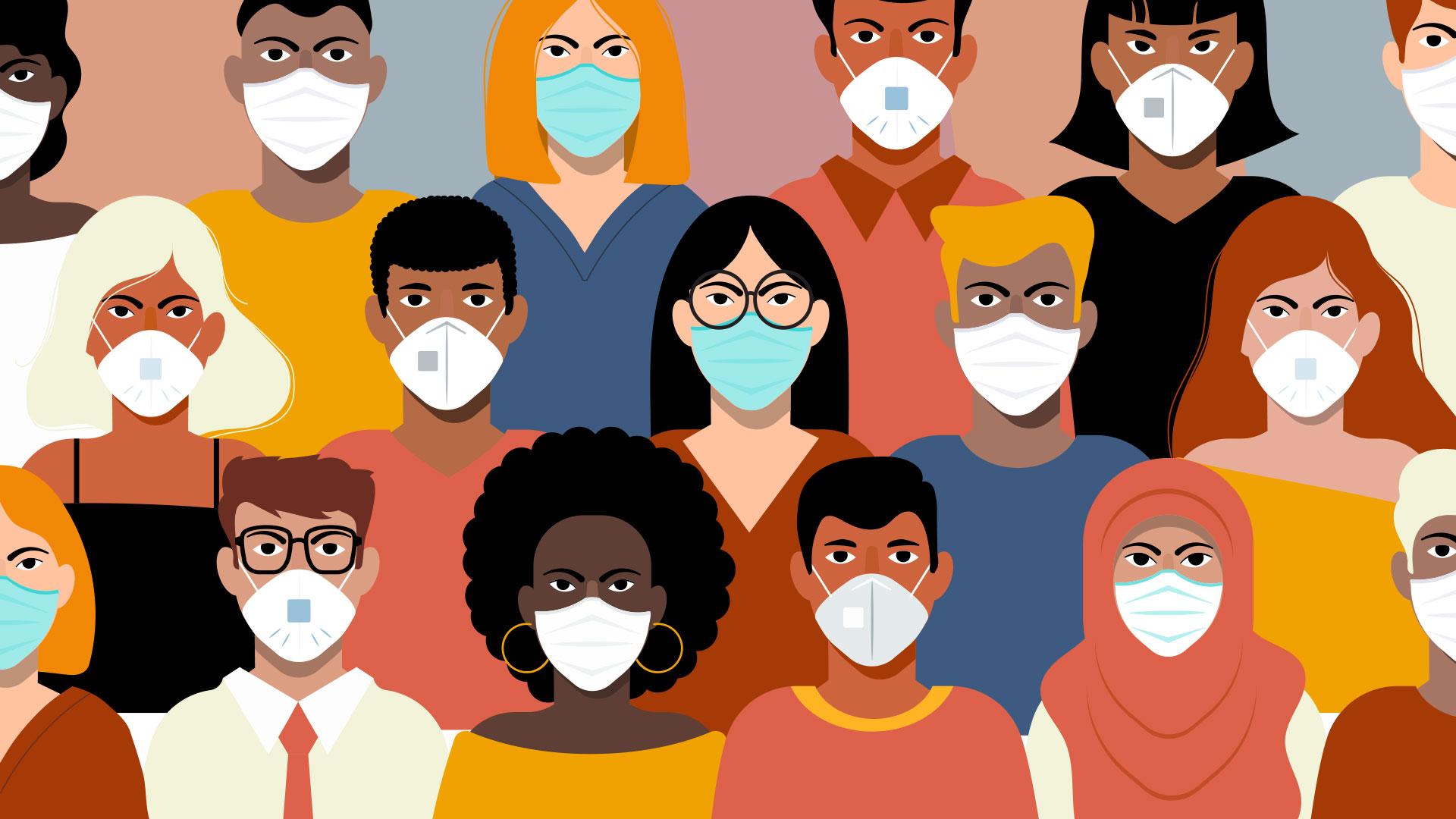 Illustration of business professionals wearing masks